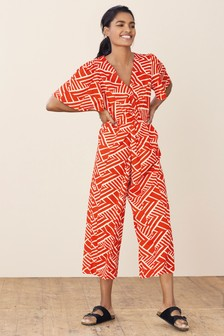 Red Geo V-Neck Jumpsuit