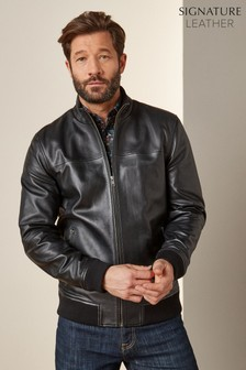 Black Signature Leather Funnel Neck Jacket