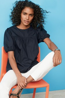 Navy Puff Sleeve Cotton Poplin Top