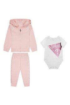 Baby Girls Pink & White Cotton 3 Piece Set