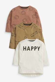 Multi 3 Pack Happy Printed Jersey T-Shirts (3mths-7yrs)