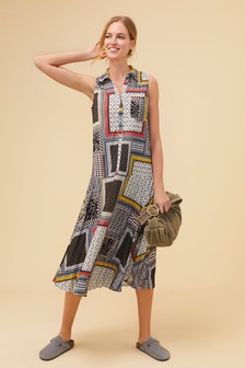 Patch Print Sleeveless Pleated Shirt Dress