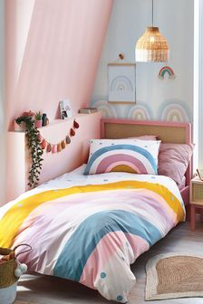 Scandi Rainbow Reversible Duvet Cover and Pillowcase Set