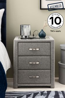 Grey Frankie 3 Drawer Bedside Table With USB Charger