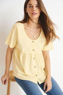 Yellow Nursing Button Through Cotton Twill Blouse