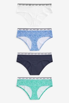 Animal/Blue/Green Short Cotton Rich Logo Knickers Four Pack