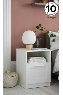 White Flynn 1 Drawer Bedside Table