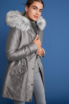 Grey Faux Fur Hooded Parka