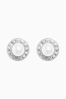 Sterling Silver Pavé Pearl Effect Stud Earrings