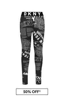 DKNY Girls Black Cotton Leggings