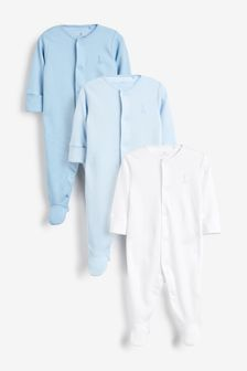 Blue/White 3 Pack Cotton Sleepsuits (0-2yrs)