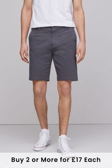Charcoal Straight Fit Stretch Chino Shorts