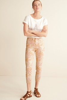 Paisley Print Skinny Cropped Jeans