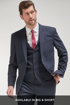 Blue Regular Fit Stripe Suit: Jacket