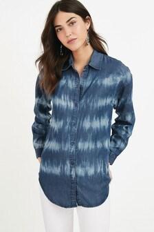 Navy Tie Dye TENCEL™ Boyfriend Shirt