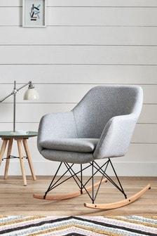 Dottie Wool Blend Grey Rocker Chair