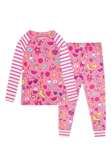 Girls Pink Lovely Doodles Organic Cotton Raglan Pyjama Set