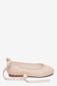 Pink Glitter Tie Ballet Shoes