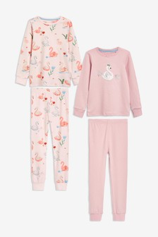 Pink 2 Pack Swan Appliqué Snuggle Pyjamas (9mths-12yrs)
