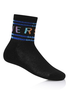 Kids Black & Multi-Coloured Logo Socks