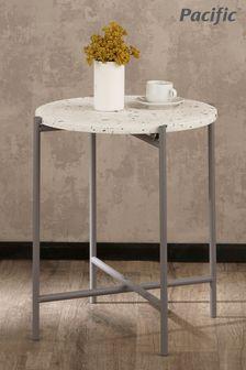 Pacific White Terrazzo And Matt Grey Large Metal Table