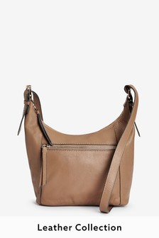 Camel Leather Zip Across Body Bag