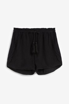 Black Trim Detail Shorts (3-16yrs)