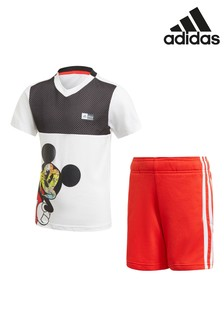 adidas Little Kids White Mickey Mouse™ T-Shirt And Shorts Set