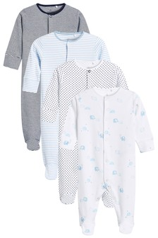 Blue/White 4 Pack Elephant Sleepsuits (0-2yrs)