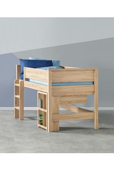 Oak Effect Compton Mid Sleeper Single Bed Frame with Desk