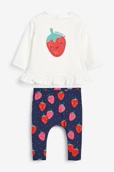 White/Blue 3 Piece Strawberry Print Set (0mths-2yrs)