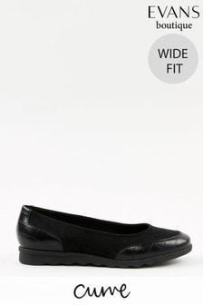 Evans Curve Wide Fit Black Comfort Flat Shoes