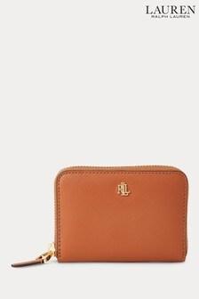Lauren Ralph Lauren Tan Dryden Leather Zip Purse