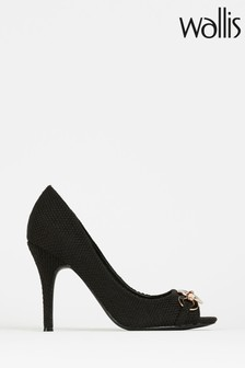 Wallis Church Black Circle Trim Peep-Toe Court Shoes