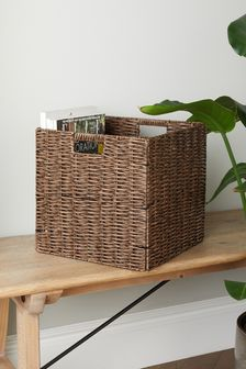 Grey Plastic Wicker Cube