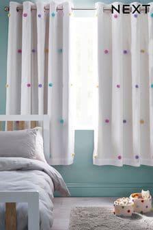 Multi Pom Pom Eyelet Blackout Curtains