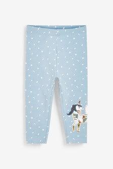 Blue Unicorn Embroidered Leggings (3mths-7yrs)