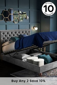 Opulent Velvet Steel Paris Ottoman Storage Bed