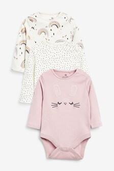 Monochrome 3 Pack Bunny Long Sleeve Bodysuits (0mths-3yrs)