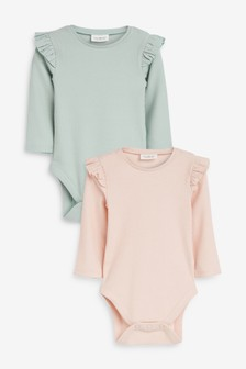 Pink/Green 2 Pack Frill Sleeve Bodysuits (0mths-3yrs)