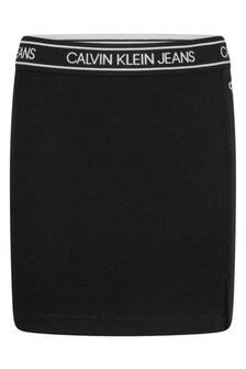 Calvin Klein Jeans Girls Black Elastic Logo Waistband Skirt