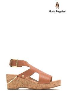 Hush Puppies Brown Maya Wedge Sandals