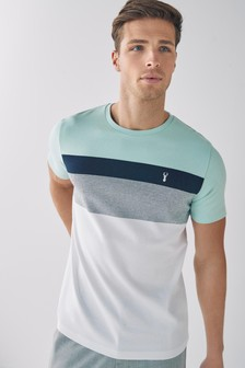 Mint/White Block Soft Touch Regular Fit T-Shirt