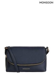 Monsoon Blue Zip Flap Cross-Body Bag