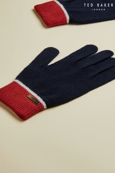 Ted Baker Blue Varglo Merino Wool Blend Gloves