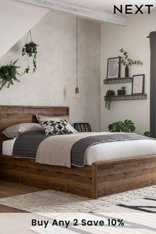 Rustic Oak Bronx Ottoman Storage Bed