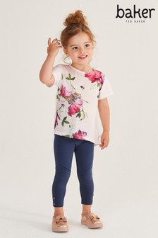 Baker by Ted Baker Girls Pink Floral Two Piece Long Line T-Shirt Set