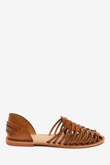 Tan Woven Leather Huarache Shoes