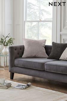 Silver Soft Velour Large Square Cushion