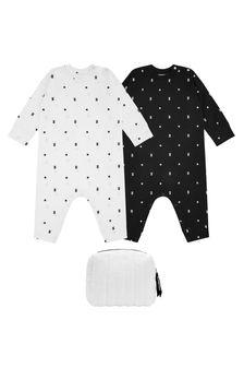 Burberry Kids Baby Black Cotton Set